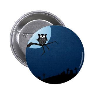 Spooky halloween owl button