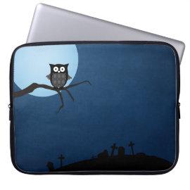 Spooky halloween owl laptop sleeves