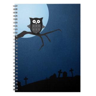 Spooky halloween owl note book