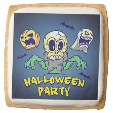 Halloween Themed Spooky Halloween Party Square Shortbread Cookie