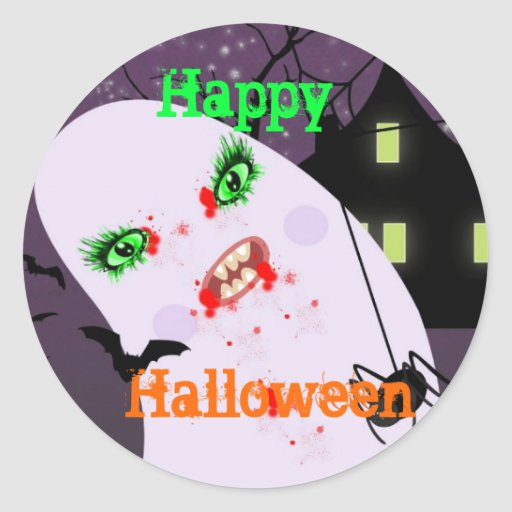 Spooky Halloween Party Stickers - Cupcake Topper
