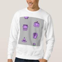 Spooky Halloween Pattern Violet on Grey Sweatshirt