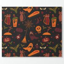 Spooky Halloween Pattern Wrapping Paper