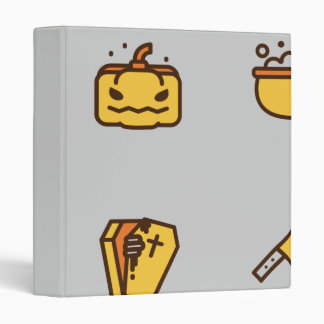 Spooky Halloween Pattern Yellow on Grey 3 Ring Binder