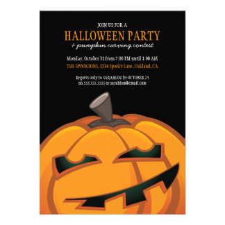 Spooky Halloween Pumpkin Carving Party Invitations