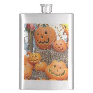 Spooky Halloween pumpkin jack o lantern fun Flask