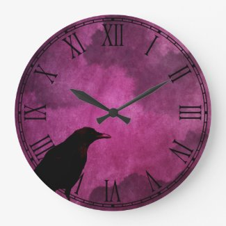 Spooky Halloween Raven Prints Large Clock