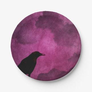 Spooky Halloween Raven Prints Paper Plate