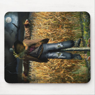 Spooky Halloween Scarecrow in Cornfield Mouse Pad