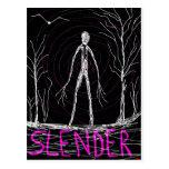 spooky Halloween slender man in woods Postcard