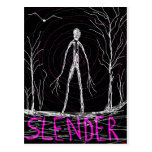spooky Halloween slender man in woods Postcard