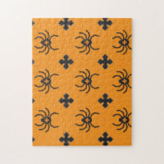 Spooky Halloween Spiders Pattern on Yellow Jigsaw Puzzle