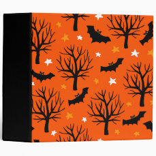 Spooky Halloween Tree with Bats and Stars Binder