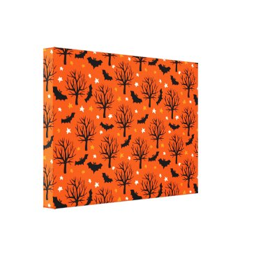 Halloween Themed Spooky Halloween Tree with Bats and Stars Canvas Print