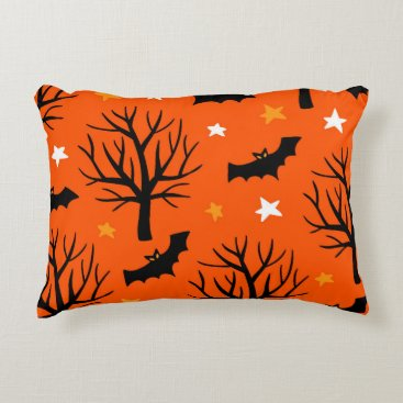 Halloween Themed Spooky Halloween Tree with Bats and Stars Decorative Pillow