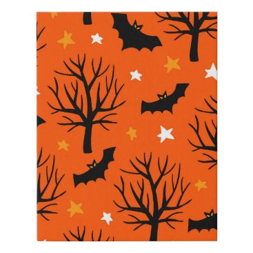 Halloween Themed Spooky Halloween Tree with Bats and Stars Faux Canvas Print