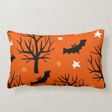 Halloween Themed Spooky Halloween Tree with Bats and Stars Lumbar Pillow