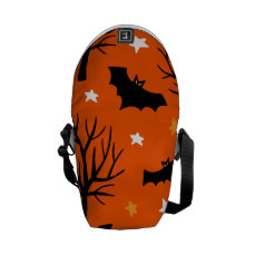 Spooky Halloween Tree with Bats and Stars Messenger Bag