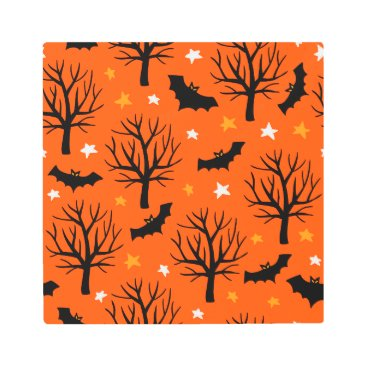 Halloween Themed Spooky Halloween Tree with Bats and Stars Metal Print