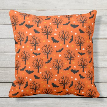 Halloween Themed Spooky Halloween Tree with Bats and Stars Outdoor Pillow