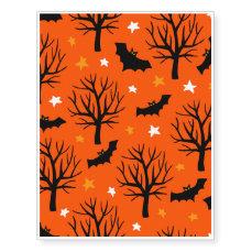 Spooky Halloween Tree with Bats and Stars Temporary Tattoos