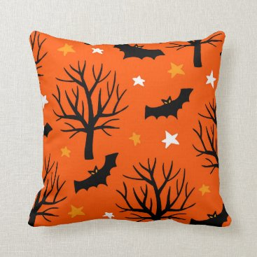 Halloween Themed Spooky Halloween Tree with Bats and Stars Throw Pillow