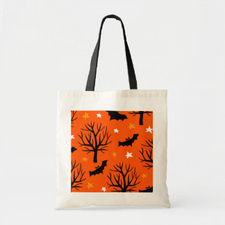 Spooky Halloween Tree with Bats and Stars Tote Bag