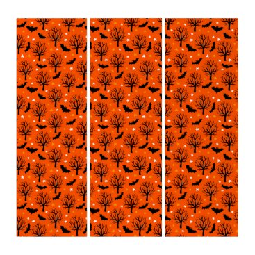 Halloween Themed Spooky Halloween Tree with Bats and Stars Triptych