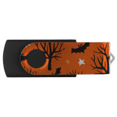 Spooky Halloween Tree with Bats and Stars USB Flash Drive