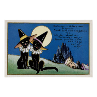 Spooky Halloween Vintage black cats decor poster