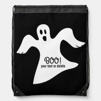 Spooky Halloween White Ghost Saying BOO! Drawstring Bag