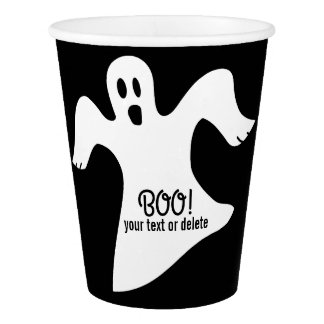 Spooky Halloween White Ghost Saying BOO! Paper Cup