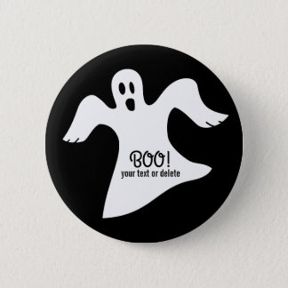 Spooky Halloween White Ghost Saying BOO! Pinback Button