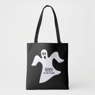 Spooky Halloween White Ghost Saying BOO! Tote Bag