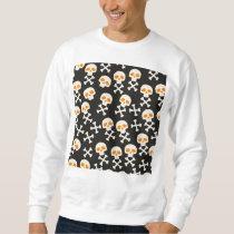 Spooky Halloween White Skulls Pattern on Black Sweatshirt