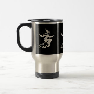 spooky halloween witch on flying broomstick fun travel mug