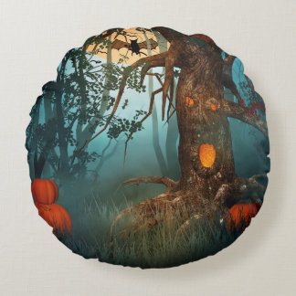 Spooky Halloween Wood Flying Bat Round Pillow