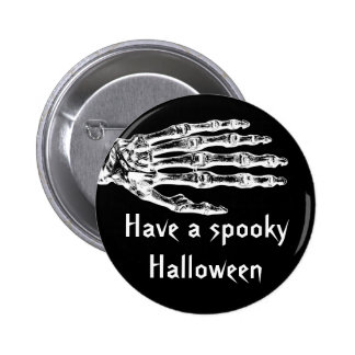 Spooky Halloween zombie skeleton hand Pinback Buttons