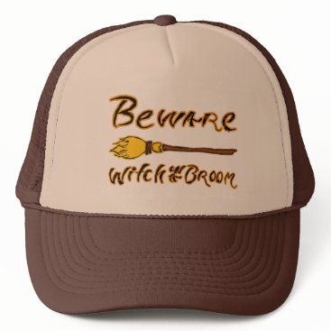 Halloween Themed Spooky & Hand Drawn Beware: Witch on a Broom Trucker Hat