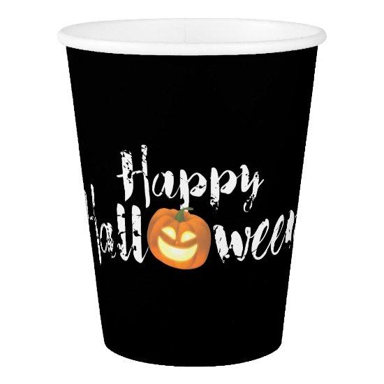 Spooky Happy Halloween Custom Paper Cups