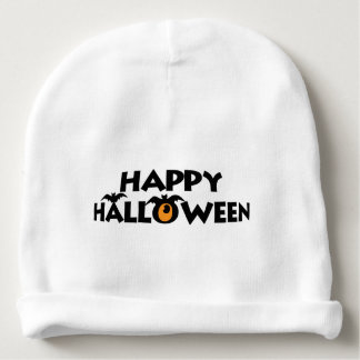 Spooky Happy Halloween Text with bats Custom Baby Beanie