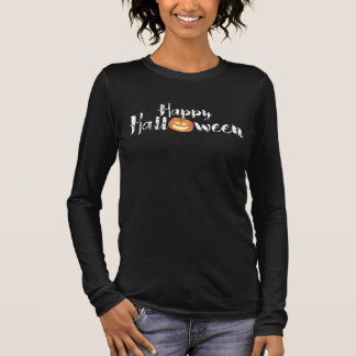 Spooky Happy Halloween Text with Pumpkin Custom Long Sleeve T-Shirt