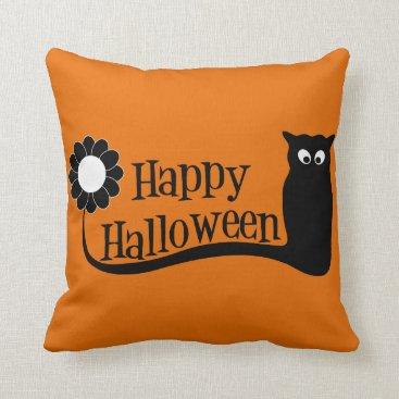 Halloween Themed Spooky  Happy Halloween Throw Pillow