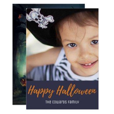 Halloween Themed Spooky Haunted Forest Pumpkin Halloween Photo Card