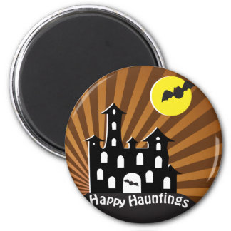 Spooky Haunted House 2 Inch Round Magnet