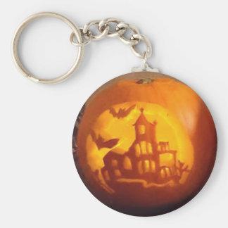 Spooky Haunted House Carved Halloween Pumpkin Keychain