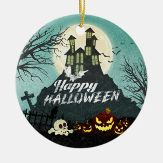 Spooky Haunted House Costume Night Sky Halloween Ceramic Ornament