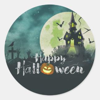 Spooky Haunted House Costume Night Sky Halloween Classic Round Sticker