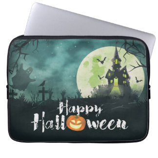 Spooky Haunted House Costume Night Sky Halloween Computer Sleeve