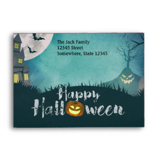 Spooky Haunted House Costume Night Sky Halloween Envelope